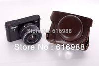 SALES!Camera bag imitation leather case for Nikon J1 J2 (10mm 11-27.5mm) camera case bag Coffee