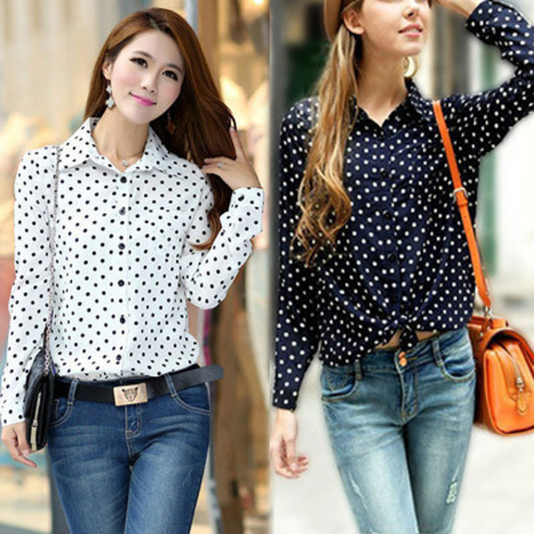 New Hot Fashion Casual Women Blouses Vintage Polka Dot Chiffon Blouses