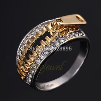 SEX Golden Zipper 18K White Gold Plated Men's Rings