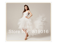 lace sexy wedding dress train feather wedding dress formal dress low-high fashion wedding dress 058