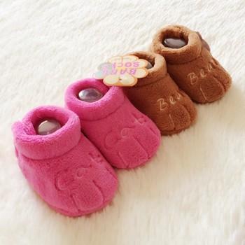Newborn bb shoes keep warm 2014 Coral cashmere cotton soft sole toddler shoes cartoon children's shoes 4403