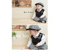 Retail new arrive baby clothing set boy hat+tie+t-shirt+vest+pants suit winter infant clothes spring gentleman suit  BXT-123