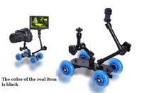 3in1 Premium Black Mini Desktop Rail Car Video Slider Dolly Car for dslr Camera Monitor +11''  7'' Magic Arms Free Ship w/Track