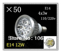50pcs/lot Dimmable LED Lamp E14 4X3W 12W=65W Halogen Bulb Light Bulbs High Power light LED Spotlight Free shipping