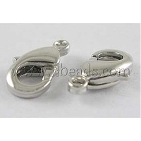Brass Lobster Claw Clasps,  Nickel Free,  With Loop,  Platinum Color,  Size: about 7mm wide,  11.5mm long,  hole: 1.2mm.