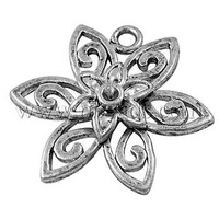Closeout Alloy Pendants,  Lead Free,  Cadmium Free and Nickel Free,  Flower,  Antique Silver,  21mm long,  23mm wide