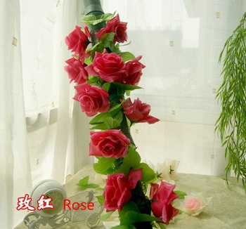 20 pieces Flower+2 pieces Vine Rose Artificial Faux Silk Flower Plastic Vine Hanging Decoration Romantic Home Decorative HW075