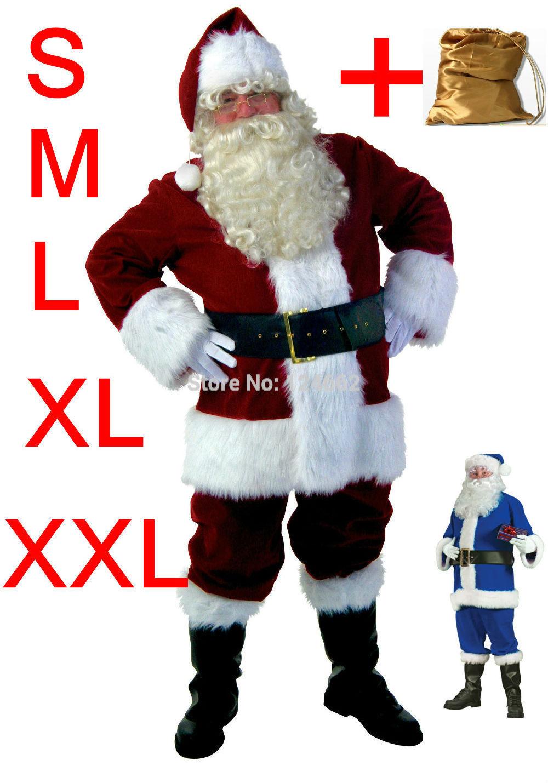 Versandkostenfrei christmas kostüme weihnachtsmann s M L XL XXL blau, grün, rot erwachsene großhandel kleidung halloween kostüme