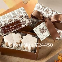 Free Shipping  48pcs/lot=24boxes/lot sale wedding supplies Wedding Favor Gift maple leaf shaped handmade soap for wedding gift