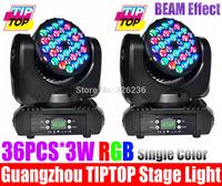 2pcs/lot 36pcs*3W RGB Cree Beam Led Moving Head Light DMX512 Led Moving Head Beam Light 15dmx Channel Led Stage Light 90V-240V