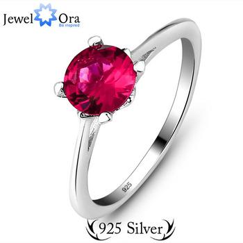 Подлинная стерлингового серебра 925 элегантный бесплатная доставка рубиновое кольцо женщина топы стерлингового серебра кольца ( JewelOra Ri100939 )