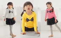 Hot Children long sleeve t shirt girl autumn/spring bowtie t shirt candycolor kids sweet cotton top full 4pcs/lot Free shipping