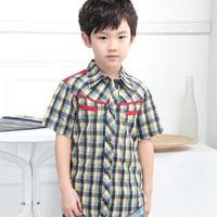 Free Shipping! High quality #30021 Children Boys Summer Clothing Patchwork Elegant Short-sleeve Summer Boys Cotton Plaid shirt