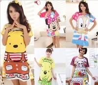 Cotton material cartoon pajamas nightgown lounge women's pajamas cute bear summer nightdress