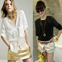 2013 (5 PCS/ lot ) New Women Fashion Simple Basic Sheer Chiffon Blouse T-Shirt With Pockets J  Free Shipping