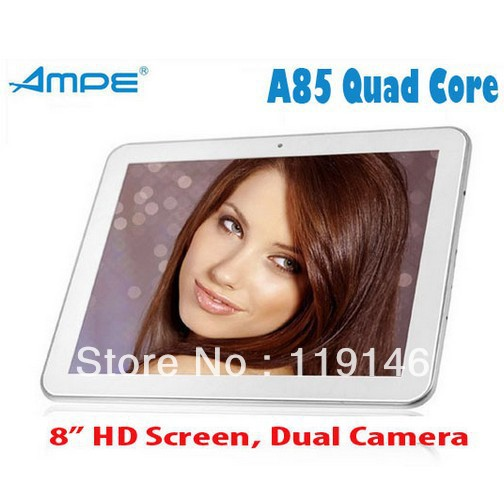 "Original AMPE A85 Dual Core 8"" IPS 1024*768 Android 4.1.1 Jelly Bean RK3066 Dual Core 1.6GHz HDMI WiFi Dual Cameras Tablet PC(China (Mainland))"