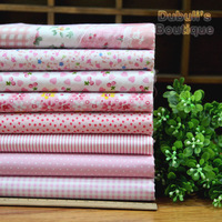 "Cute Pink Series 8pcs Floral Cotton Quilting Fabric Fat Quarters for DIY Patchwork - 45x45cm/17.7""x17.7"" Free Shipping"