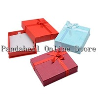 Free Shipping For US! Mixed Color Rectangle Cardboard Jewelry Box Displaying Pendants 7cm wide 8cm long 2cm high