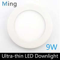 New Ultra thin design 6 inch 9W LED ceiling recessed downlight / round panel light, 130mm hole, 1pc/lot free shipping
