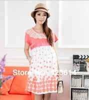 2013 New Arrival Comfortable Pregnant Lace Women Dresses, Plus Size Maternity Clothes SHORT SLEEVE Pregnant LADIES Free Shipping