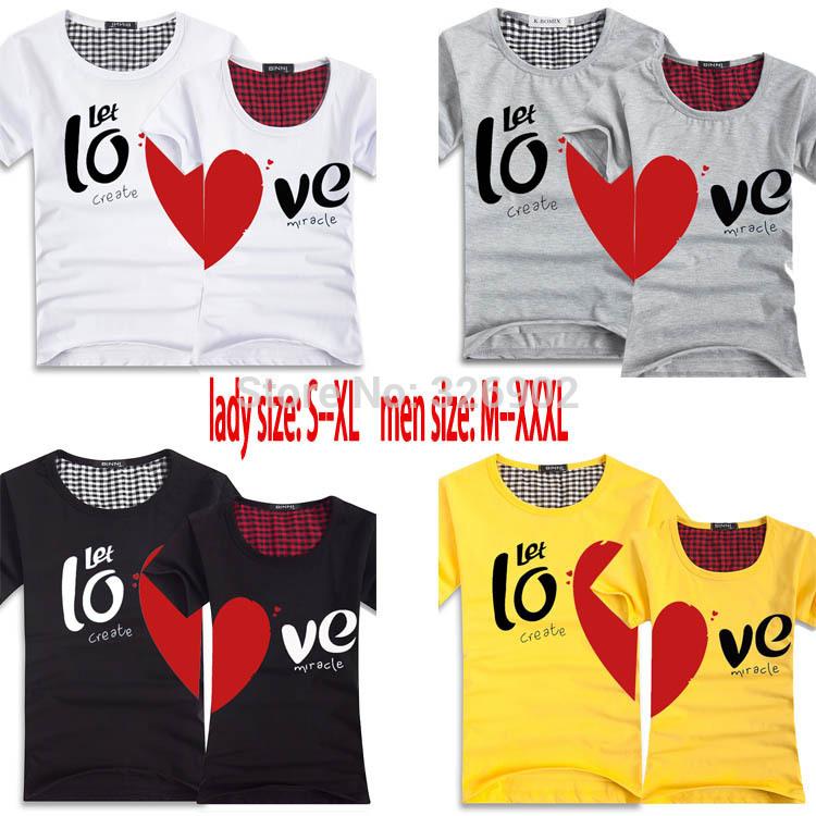 Paare Männer und Frauen herz liebe t- shirts printing100% baumwolle paar liebhaber t-shirt, t-shirts t-shirt paar Liebhaber paar t-shirt