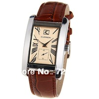 Hot Sale Ladies Quartz Watch Japan Movt Rectangle Dial Leather Strap Fashion Women Watch Curren Brand Dress Watch,Free Shipping