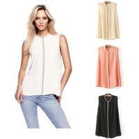 Free shipping Women summer rivet shirt fashion sleeveless blouses chiffon maxi white beige pink tops 2013 loose Korean design