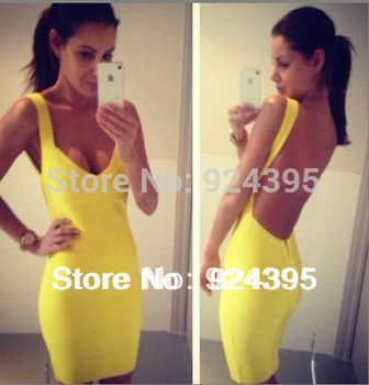 2013 Outlet multicolour Backless HL bandage dress sexy night club wear ladies elastic yellow v neck party mini dress