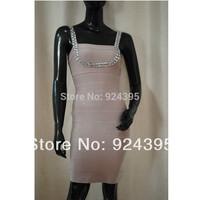 new 2014 Noble NUDE PINK & CRYSTAL Bandage Dress women dress summer dress Celebrity Evening Dresses HL