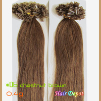 "[2/3-pcs] 16"" 0.4g #06 Hot Fusion Hair Extensions Remy chestnut brown pre-bonded Straight Human Hair Nail tip free shipping"