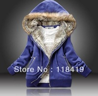 2014 Highquality Manufacture Supply Women winter Plus Large Fur Collar  Women Clothing Yellow /Rosepink/Blue M-2XL