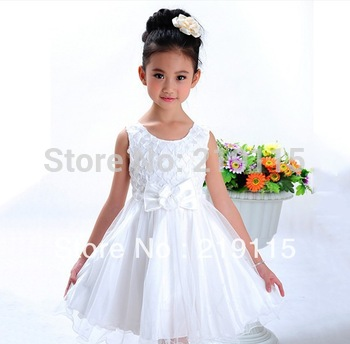 2013 summer new Korean girl princess tutu princess dress white and pink two colors Free Shipping