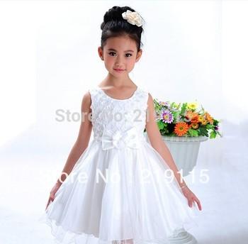 2013 summer new Korean girl princess tutu princess dress white and pink two colors Free Shipping