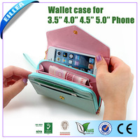 Free Shipping !! 2013 Fashion Female Zipper Leather Purse For Apple Iphone 4 Clutch  Case
