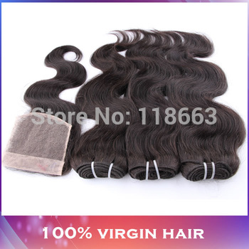1PCS FREE Lace Closure With 3 Bundles Brazilian Virgin Hair Extension 4pcs/pack Body Wave DHL Free Shipping Modern show hair