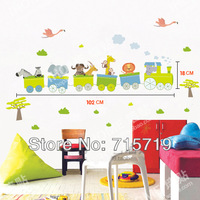 New 2014 3d PVC jungle travel tv sofa background wall sticker baby room cartoon stickers small train wall stickers for kids room
