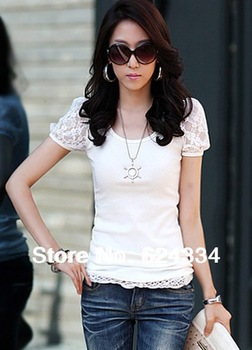 Free Shipping New 2013 Autumn -Summer Women's Big Size Plus Lace Slim Short-Sleeved t-shirts , Black / White / Grey ,Hot selling