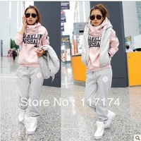 free shipping 2012 autumn and winter fashion leisure trousers, waistcoat code sportswear Hoody three sets of thickening