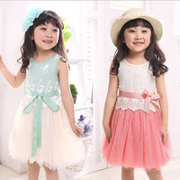 [Lucky Clover]KD-0026-19,Free Shipping,1pcs/retail.80-110cm,dress princess girl/baby girl dress/kids girls lace with 2 color
