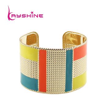 Мода преувеличены золотого цвета конфеты цвет эмали манжеты браслеты и браслеты
