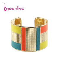 Fashion Exaggerated Gold Color Candy Color Enamel Cuff Bangles and Bracelets