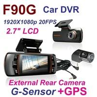 New Arrival F90G Full HD 1920x1080p 20FPS H.264 Dual Lens Car DVR  2.7' LCD HDMI Rear Camera Allwinner CPU G-sensor GPS Car DVR