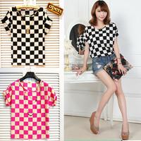 A16*Women Classic Black&White Plaid Pattern Elastic True Velvet Silk T-shirt Batwing Short Sleeve Lady Loose Blouse Tops Tees