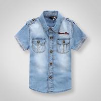 Promotion item 2014 Kids Summer cotton denim shirts boys soft shirts short sleeve turn-down collar shirts