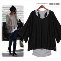 Hot Sale New 2014 Women's Loose Tops Batwing T-Shirt 2 PCS Blouse+Tank Casual Vest ( Tank + T shirt) WF-056