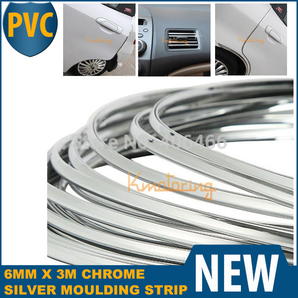 """Car Interior Grill 6mm x 3m Side Exterior Molding Trim Grille Impact 6mm Door Decoration Styling Strip Chrome Style """"U""""(China (Mainland))"""