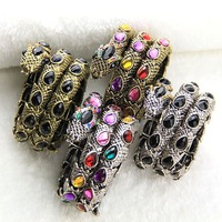Free Shipping Female Snake Gem Punk Bangle Set (4 Color Set) Classic Collection Lab Gemstone Punk Jewelry Set