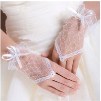 Free Shipping, Nice 1 Pair Sexy Beige Fingerless Wedding Evening Party Dress Lace Short Bridal Gloves, PH0010