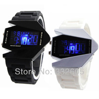 One Pieces 2014 Stainless steel Back and White Silicone LED Digital Aircraft Shape Watches Men Women Black Sports Wrist Watches