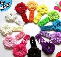 Free Shipping 12 pcs/ lot  12 Colors Mixed Peony Flower Headband Baby Hair Accessary